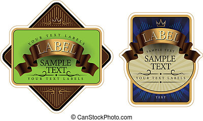 label with a gold ribbon vecror illustration - wine label...