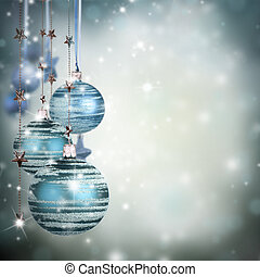 Christmas theme with blue glass balls and free space for...