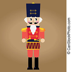 Cute red retro Nutcracker isolated on brown - Tin soldier or...
