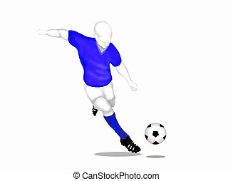 Football : Soccer Player Running and Kicking A Ball -...