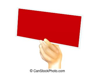 Human Hand Showing Up A Red Blank Card