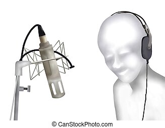 Singer Laying Down Some Vocal Tracks in A Recording Studio....