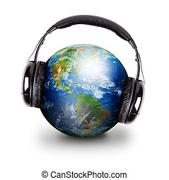 Global Music Headphones Earth - The Earth is wearing black...