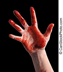 Scary Bloody Hand Reaching on Black - A bloody hand is...