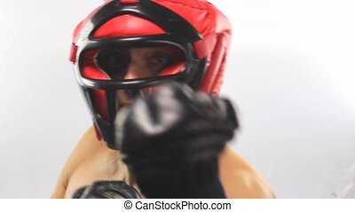 boxer man with red helmet on white background