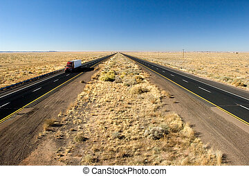 Fast delivery - Truck delivery on Arizona I-40 highway...