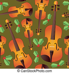 Seamless Christmas Strings - A seamless pattern of orchestra...