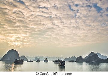 Halong Bay, Vietnam is listed as a UNESCO Wold Heritage and...
