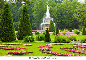 Peterhof Palace. Roman fountain of the Lower Park in the...