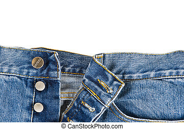 Fly of the jeans with button closure - Fly of the blue jeans...
