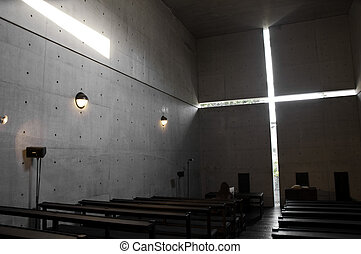 Interior of Church of the Light - Church of the light...