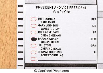 2012 presidential ballot - Closeup of the 2012 presidential...