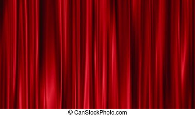 Red Curtains open, white background
