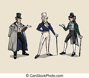 Retro men - 3 drawings of 19th century man costume.