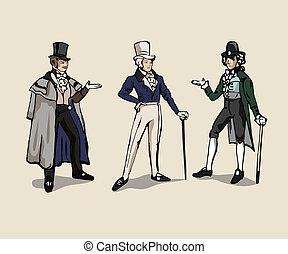 Retro men - 3 drawings of 19th century man costume.