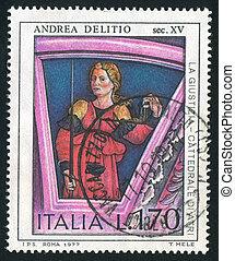 Justice by Andrea Delitio - ITALY - CIRCA 1977: stamp...
