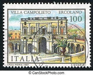 Villa Campolieto in Ercolano - ITALY - CIRCA 1981: stamp...