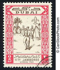 Jamboree - DUBAI - CIRCA 1963: stamp printed by Dubai, shows...