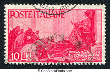 Republic of Genoa - ITALY - CIRCA 1946: stamp printed by...