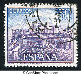 Castle Alcazaba - SPAIN - CIRCA 1970: stamp printed by...