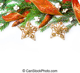 Christmas Decorations border over white