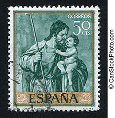 San Jose by Alonso Cano - SPAIN - CIRCA 1969: stamp printed...