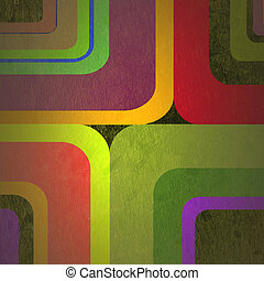 abstract curved bands, grunge background on the paper with...