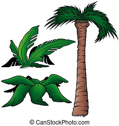 Palms 5 - three colored cartoon illustration