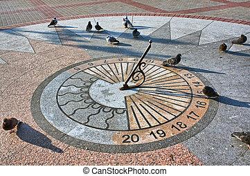 The sundial on granite base - Sevastopol. The sundial on...