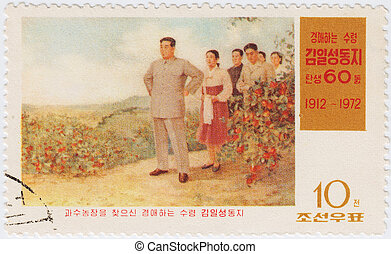 NORTH KOREA - CIRCA 1972: stamp printed in North Korea shows...