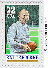 USA - CIRCA 1988: stamp printed in the USA shows Knute...