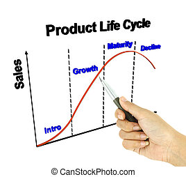 a pen pointer 3D product life cycle chart marketing concept...