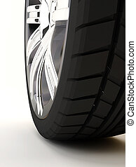 pneumatic - Brand new tire, 3d rendering of car wheel,...