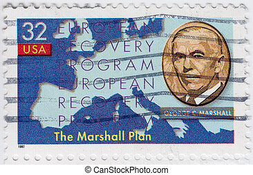USA - CIRCA 1997 : stamp printed in USA show shows George Marshall, circa 1997