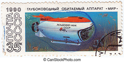 USSR - CIRCA 1990 : Stamp printed in USSR shows submarine...