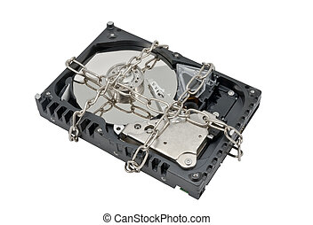 Hard disk drive on chain isolated on white