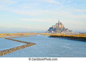 Mont Saint Michel over sea , France - Mont Saint Michel city...