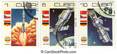 old stamps of Republic of CUBA with the space theme