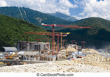 A lot of construction in the mountains