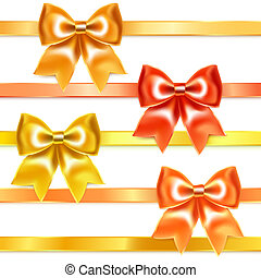 Golden and bronze bows of silk ribbon, isolated on white...