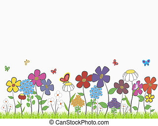 Flower glade - Background - floral cartoon theme with space...
