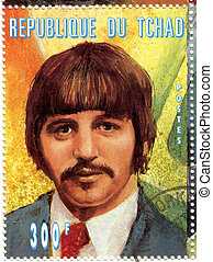 stamp with Ringo Starr from group The Beatles
