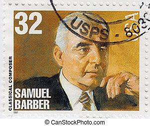 USA - CIRCA 1997 : stamp printed in USA show American classical Composer Samuel Barber, circa 1997