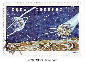 :, Cuba, estampilla, 1973, -, luna, luna, estación, yo,...