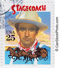 USA - CIRCA 1978 : stamp printed in USA with John Wayne in...