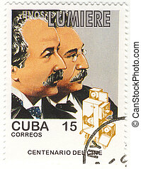 cuba stamp with brother lumiere