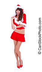 Candy girl - Sexy Mrs Santa eating lollypop, studio shot