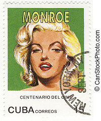 vintage Cuba stamp with Merilyn Monroe