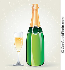 Champagne bottle and glass - Vector illustration of...