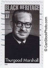 USA - CIRCA 2003 : stamp printed in USA show shows Thurgood...